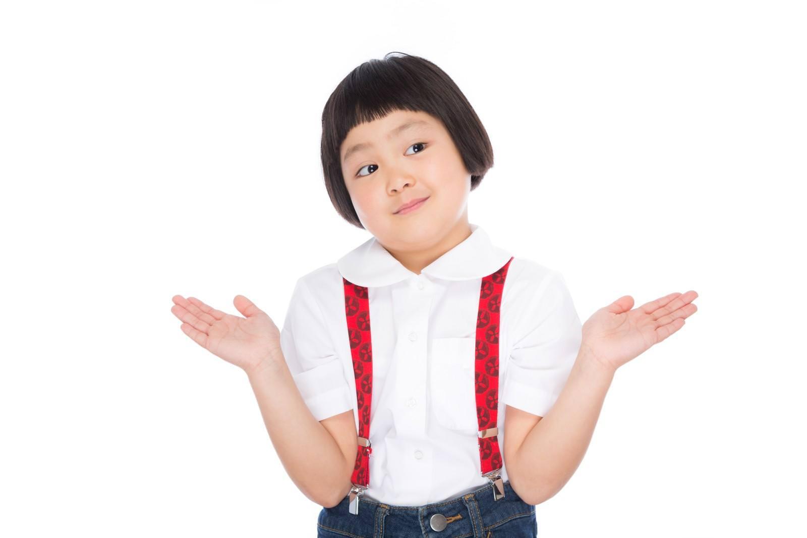 前髪パッツンの女の子のリアクションの写真