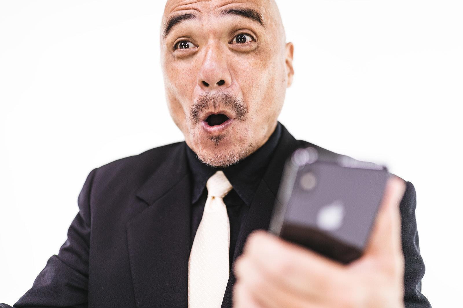 大興奮のお父さんの写真